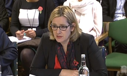 The energy secretary, Amber Rudd, gives evidence to the Commons energy and climate change committee, telling MPs that meeting the 15% renewable energy target would be challenging. Photograph: PA